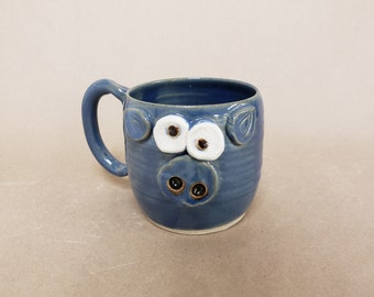 NEW Blue Pig Mug. 16 Ounces. Piggy Pig Piglet Lover Coffee Cups and Mugs. Gifts for Pet Pig Owners. Funny Farm Animal Pottery Coffee Cups.