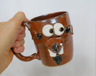 Funny Farm Mugs. Goat Face Coffee Cup in Red. Large 16 Ounces Over Size Beer Pint Mug. Fun Barnyard Animals Stoneware Goat Lover Mug