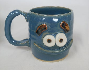 NEW. New Parent Coffee Cup. Funny Father Dad Gift Idea for New Dad Blue Pottery Mugs for Him. Happy Smiley Face Mug Ug Chug Nelson Studio