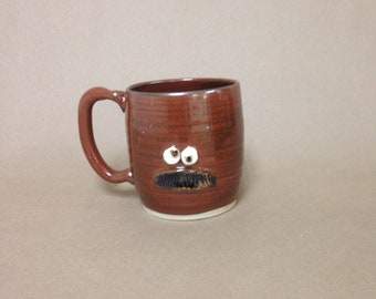 Shy Guy Coffee Cups. Introvert Gift Ideas. Coffee Lover. Mans Handlebar Mustache Mugs. Stoneware Clay Pottery Face Mugs. Huge 20 Oz LOGAN