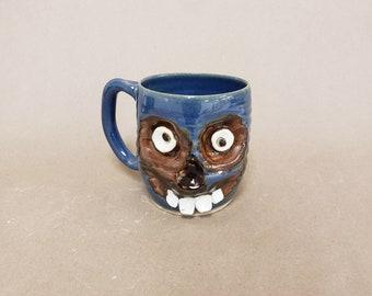 Creepy Zombie Monster Mug. Walking Dead Blue Zombie Coffee Cup. Unusual Beer Stein. Large Ceramic Mug Spooky Face Handmade Pottery Ug Chug.