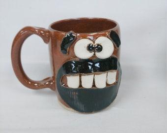 NEW Beard Lover Coffee Cup. LOGAN. Full Beard Face Mug. Outdoor Camping Rugged Nature Lover Mug. Survival Mug. 16 Ounces Red Mug for Him.