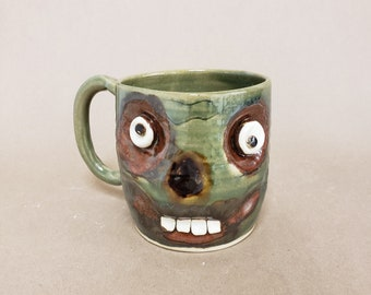 Walking Dead Coffee Mug. Microwave Dishwasher Safe Stoneware Pottery Face Cup. Zombie Lover Gift. UgChugs by Nelson Studio. Green
