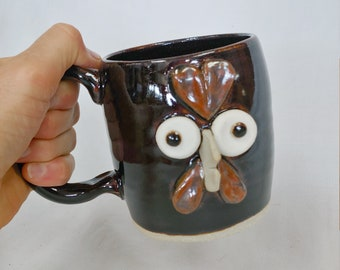 PENELOPE Pottery Chicken Mug in Black. Cute Hot Tea Mug. Funny Face Coffee Cup. Comical Mug. Farmhouse Chicken Rooster Hen Collector.