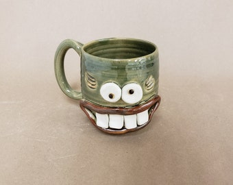NEW Meg the Nelson UgChug Mug. Stoneware Face Pottery. Microwave Dishwasher Safe Unique Tea Cup. Handcrafted by Nelson Studio of Alabama.