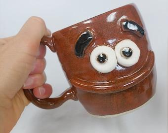 Coffee Cappuccino Latte Pottery Coffee Cup. MARSHALL Red Philosophical Guy. Serious Thinker Face Mug. Beer Ug Chug Handmade Stoneware.