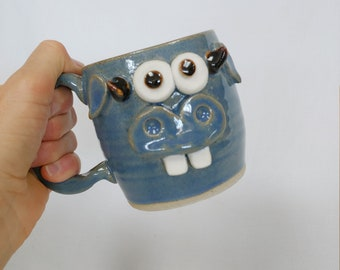 Funny Farm Cow Face Mug. Microwave Dishwasher Safe Handmade Stoneware Pottery Cow Coffee Cup Brown. Wild Eyed WAYNE Gift for Farmers. Moo.
