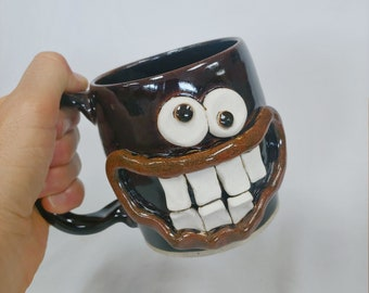 BILL Nelson Studio Ug Chug Face Mug. Funny Face Coffee Cups and Mugs. Handmade Ceramic Stoneware Pottery Dishes. Hilarious His Her Mugs