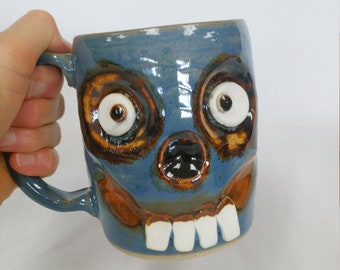 Mugs Zombie Monster Scary Mug. BLAKE. Walking Dead Blue Zombie Coffee Cup. Zombie Lover Beer Stein. Ceramic Creepy Face Pottery Ug Chug