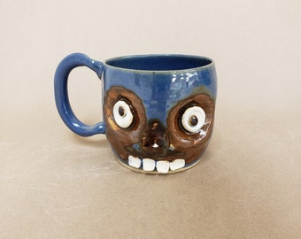 Confused Zombie Monster Mug. Walking Dead Green Zombie Coffee Cup. Zombie Lover Beer Stein. Ceramic Mug Creepy Face Handmade Pottery