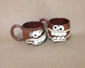 His Her Face Mugs. Husband Wife Pair of Coffee Cups. Fun Loving Couples Mugs. DEREK and DIANA. 14 Ounce Handmade Stoneware Clay Tea Soup Mug