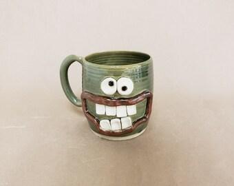 Dieter's Coffee Cup.  Diet Mug. Extra Large 16 - 20 Ounces Pottery Tankard. Green Tea Cup. Gift Ideas for Dieting Face Mug. EDDIE Ug Chug