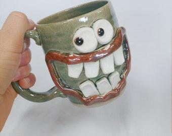 Breakfast Lover Mug. JIM Microwave Dishwasher Safe Large Goofy Smiley Face Coffee Cup Ug Chug Mug Green Breakfast Loving Dude Stein