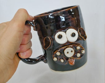 NEW. Hilarious Dog Lover Pet Owner Coffee Mugs. Puppy Coffee Cup. SUGAR PIE. Funny  Stoneware Pottery Face Mugs Handmade by Nelson Studio.