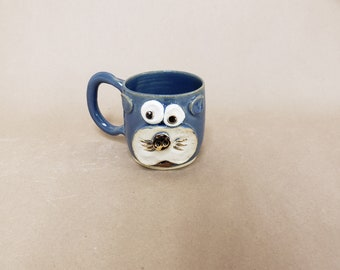 FLUFFY Coffee Mug. Cute Kitty Face Hot Tea Mug in Speckled Blue. Handcrafted Stoneware Pottery Mugs by Nelson Studio. Made in the USA