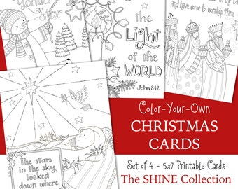 shine christmas coloring cards 5x7 jesus is the reason glory to god angels set of four instant download christian