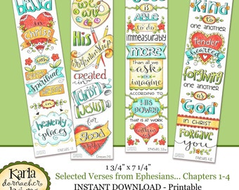 Ephesians 1 4 Full Color Bookmarks Bible Journaling Illustrated Faith INSTANT DOWNLOAD Scripture Digital Printable Christian Religious