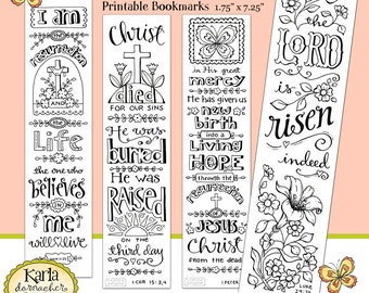 Easter Color Your Own Jesus Is Alive Bible Bookmarks Journaling INSTANT Download Scripture Digital Printable Christian Religious