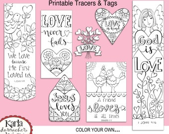 VALENTINE LOVE Color Your Own Bookmarks Bible Journaling Tags Tracers Stickers Instant Download Scripture Printable