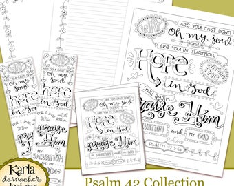 Psalm 42 Why So Downcast O My Soul Coloring Collection Bible Journaling Traceable Bookmarks Hope In Psalms INSTANT Download Printable