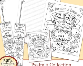 Psalm 2 Holy Hill Bible Journaling Color Your Own INSTANT Download Art Print Coloring Page Printable Christian Religious