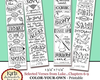 Luke 6 9 Color Your Own Bible Bookmarks Journaling Tags INSTANT DOWNLOAD Scripture Digital Printable Download Christian Religious