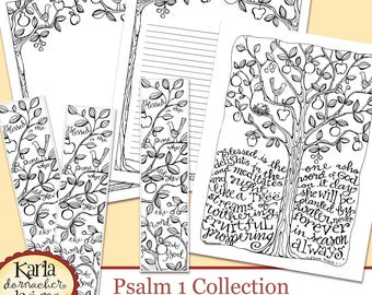 Psalm 1 Be Like A Tree Bible Journaling Color Your Own INSTANT DOWNLOAD Art Print Coloring Page Printable Christian Religious