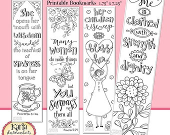 A Godly Woman PROVERBS 31 Color Your Own Bible Bookmarks Journaling Instant Download Scripture Digital Printable Christian