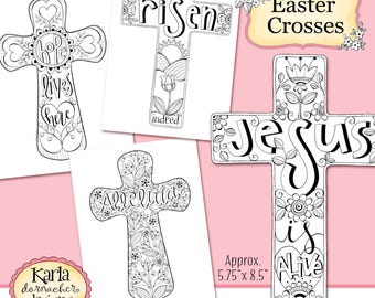 Crosses Of Faith Coloring Collection Color Your Own INSTANT Download Scripture Digital Printable Christian Religious