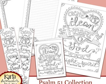 Psalm 51 Create In Me A Clean Heart Bible Journaling Color Your Own INSTANT Download Art Print Coloring Page Printable Christian Religious