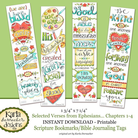 Ephesians 1 4 Full Color Bookmarks Bible Journaling