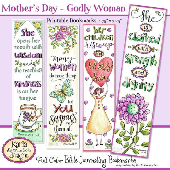 Mothers Day A Godly Woman Full Color Bible Bookmarks Bible Etsy