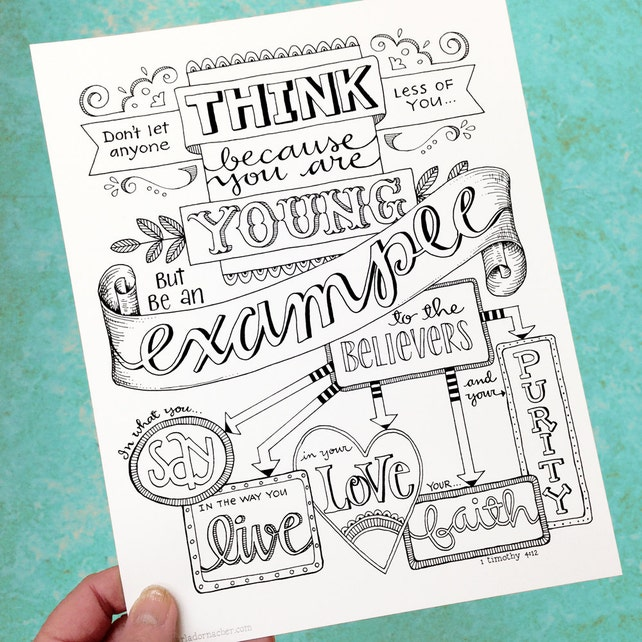 1 Timothy 412 Be An Example Bible Journaling Color Your Own