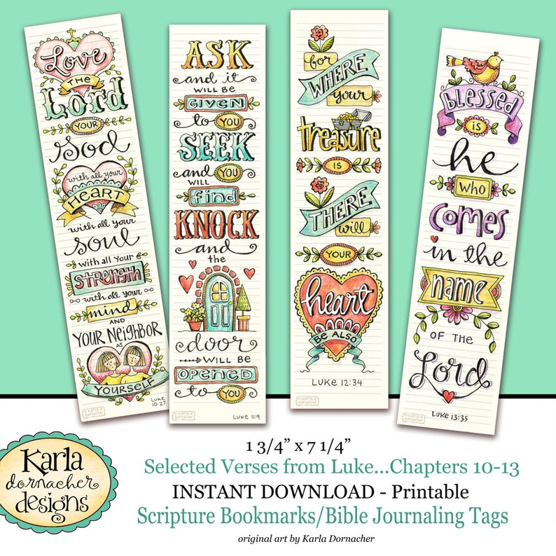 photo regarding Printable Christian Bookmarks known as Luke 10-13 BIBLE BOOKMARKS Artwork Journaling Illustrated Religion Prompt Down load Scripture Electronic Printable Christian Non secular