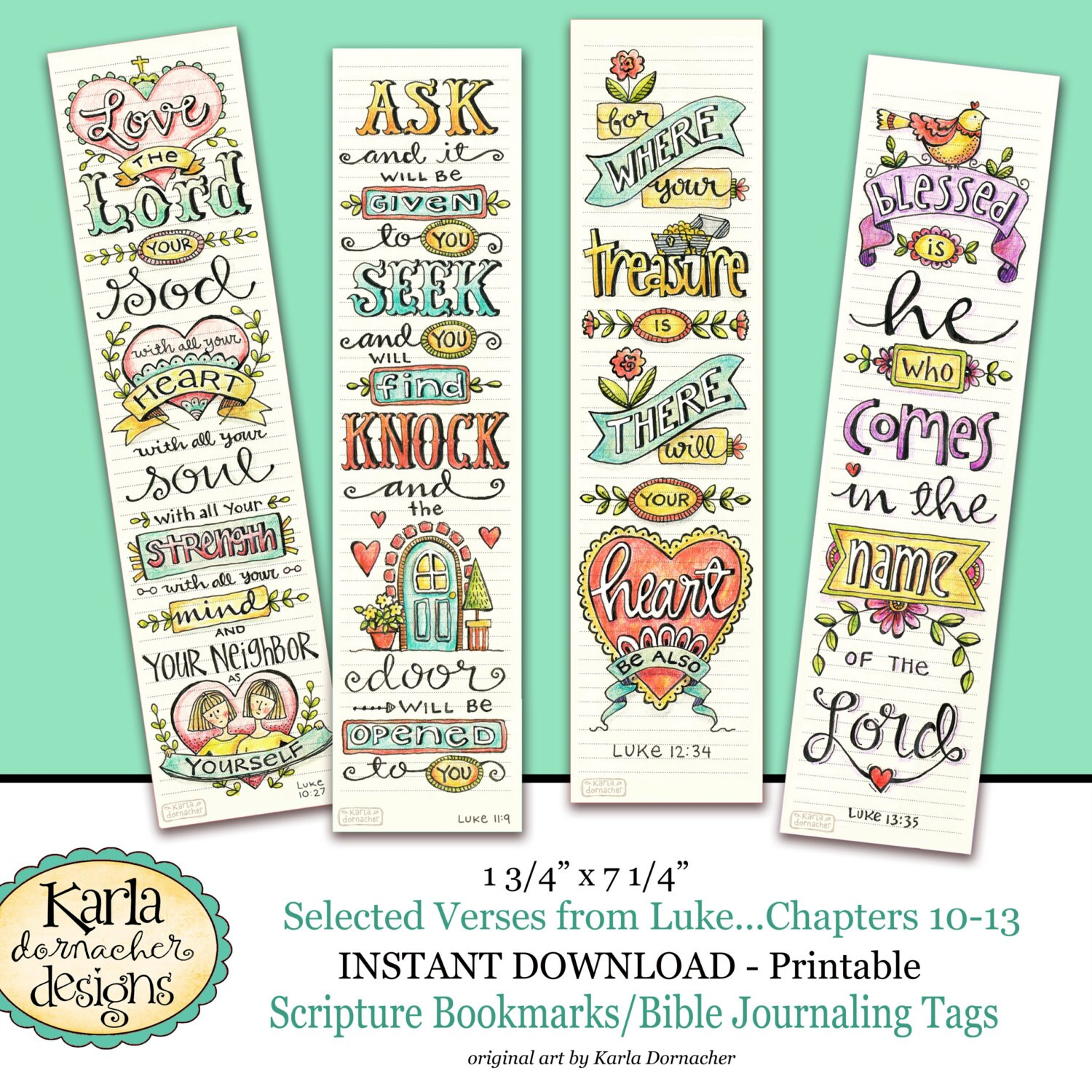 Luke 10 13 BIBLE BOOKMARKS Art Journaling Illustrated Faith