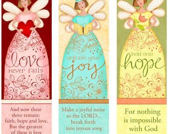 ANGEL BOOKMARKS... Light Skin Angelic Trio INSTANT Download - Love - Hope- Joy - Bible Bookmarks Digital Download Printable Clip Art