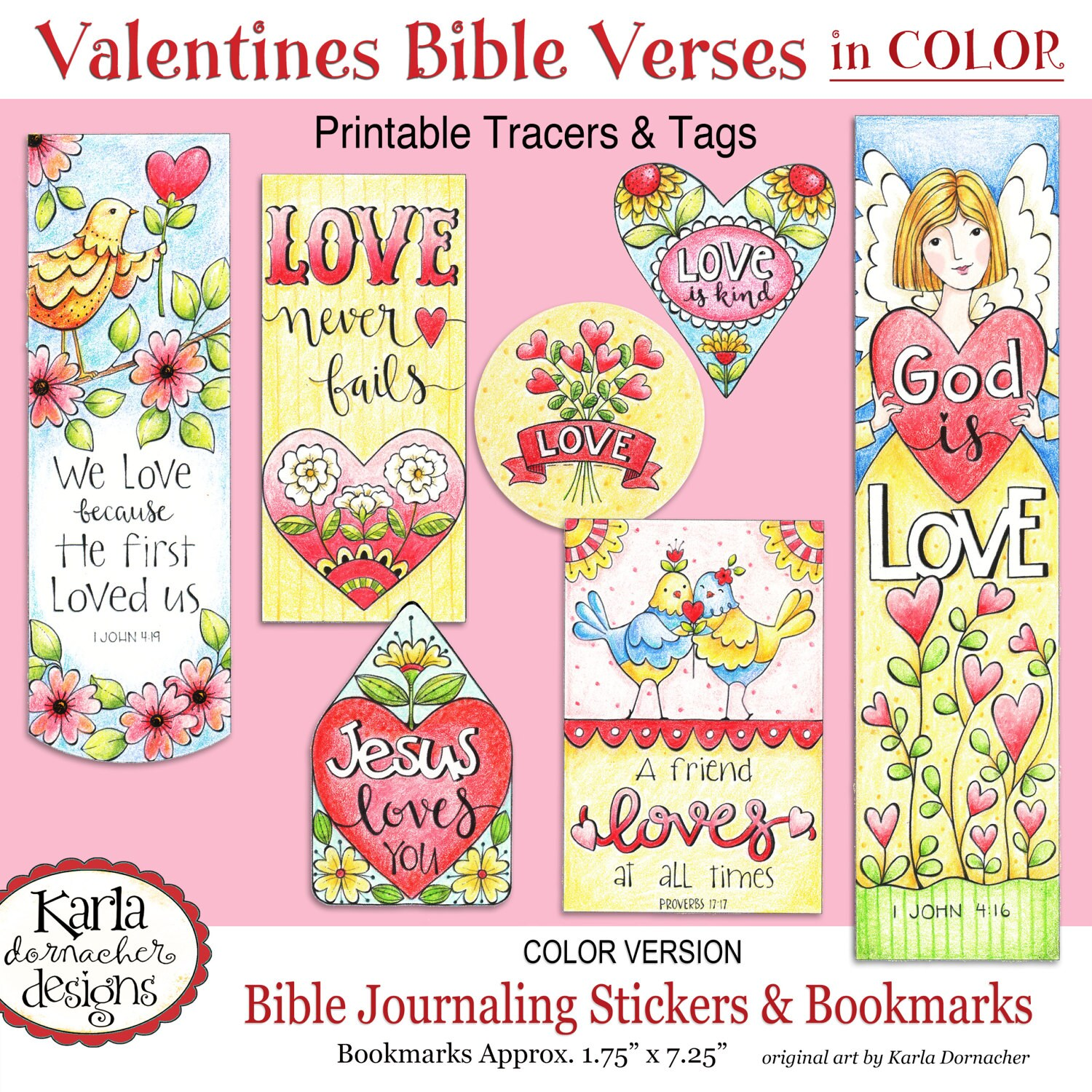 Valentine Love FULL COLOR Bookmarks Bible Journaling Tags | Etsy