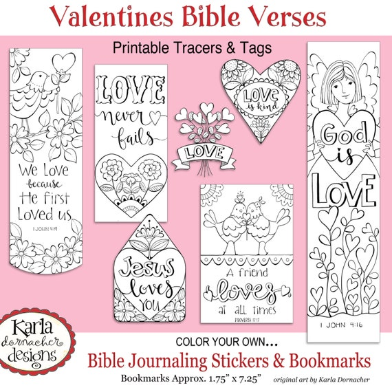 VALENTINE LOVE Color Your Own Bookmarks Bible Journaling Tags