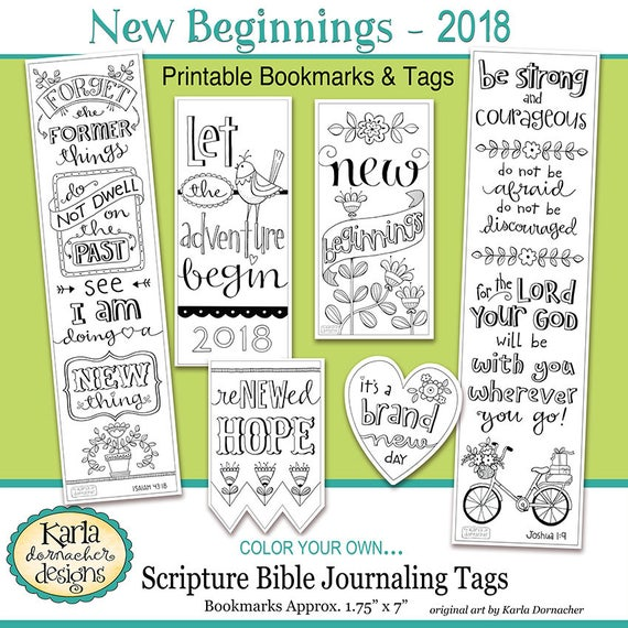 2018 NEW BEGINNINGS New Year Color Your Own Bookmarks Bible