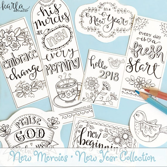 2018 New Year NEW MERCIES Day Color Your Own Bookmarks
