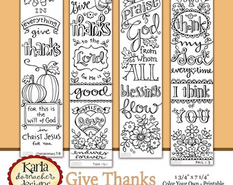 GIVE THANKS Color Your Own THANKSGIVING Bible Journaling Bookmarks Illustrated Faith Instant Download Scripture Digital Printable Christian