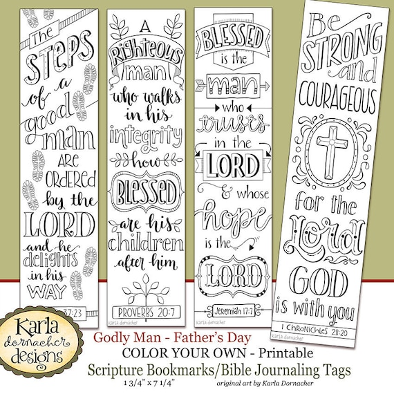 Fathers Day Color Your Own Bookmarks Bible Journaling Etsy