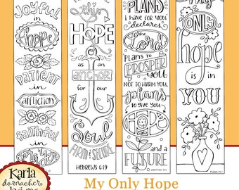 MY ONLY HOPE... Bible Journaling Templates, Tracers, Color Your Own Bookmarks, 52 Word Project Instant download Scripture Digital Printable