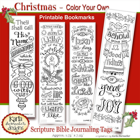 Christmas Color Your Own Bookmarks Bible Journaling Tags Etsy