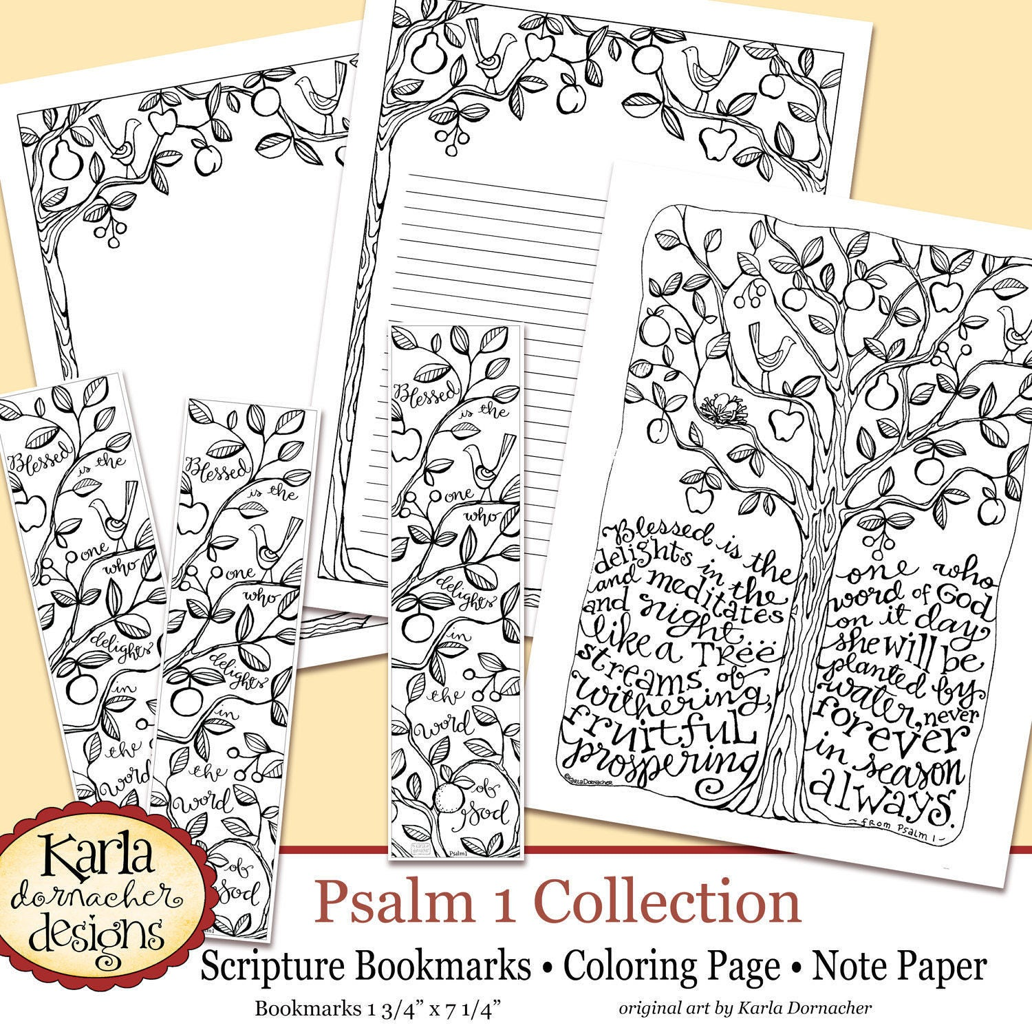 Psalm 1 Be Like A Tree Bible Journaling Color Your Own Etsy