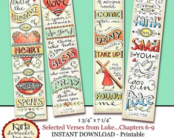 LUKE 6-9... Bible Bookmarks Bible Journaling Tags INSTANT DOWNLOAD Scripture Digital Printable Download Christian Religious