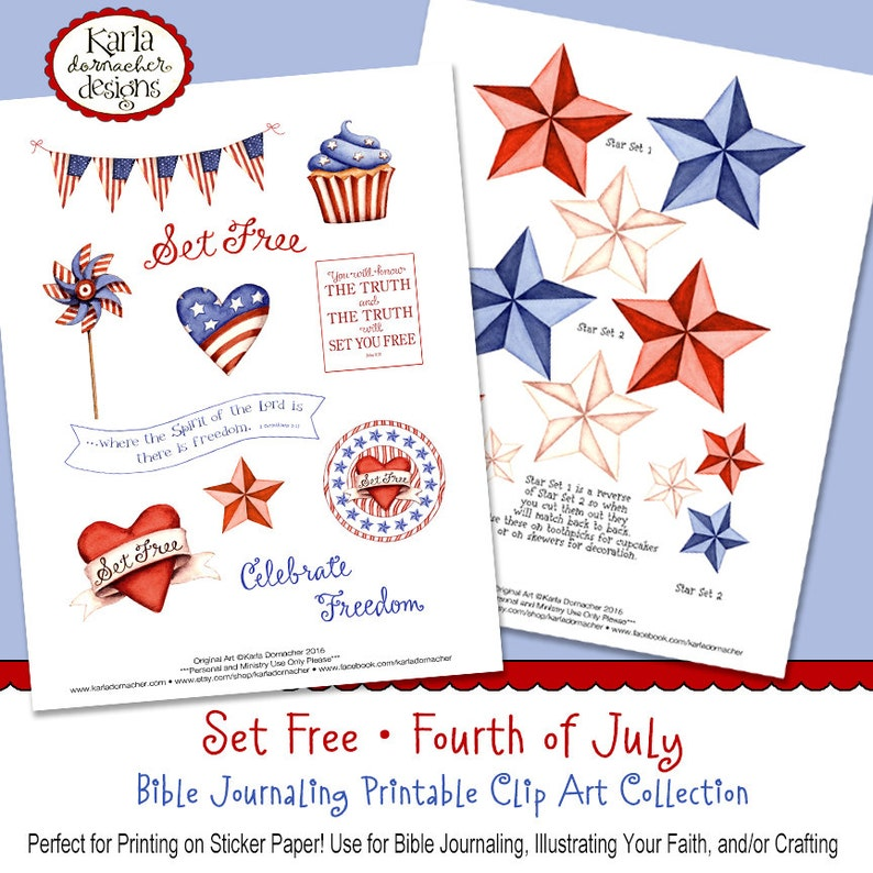 Set Free  Fourth of July  Full-Color Bible Journaling Art image 0