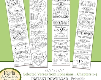 Ephesians 1 4 Color Your Own Bookmarks Bible Journaling Illustrated Faith INSTANT DOWNLOAD Scripture Digital