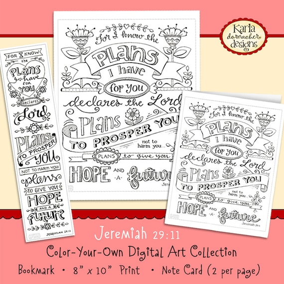 Jeremiah 2911 Bible Journaling Coloring Collection Bookmarks