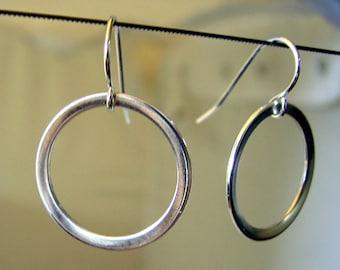Handmade Sterling Silver Earrings Hoop Dangle Drop Open Circle Shape Round Hanging